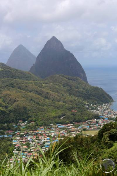View of Soufrière with the twin Pitons.