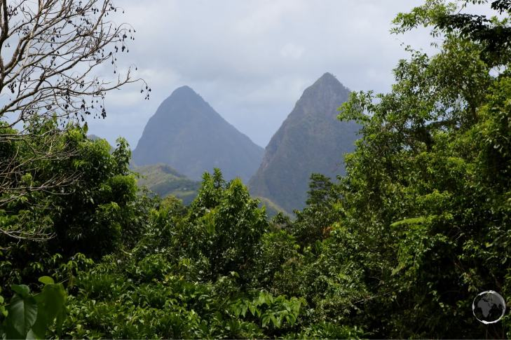 The iconic Pitons, two mountainous volcanic plugs.