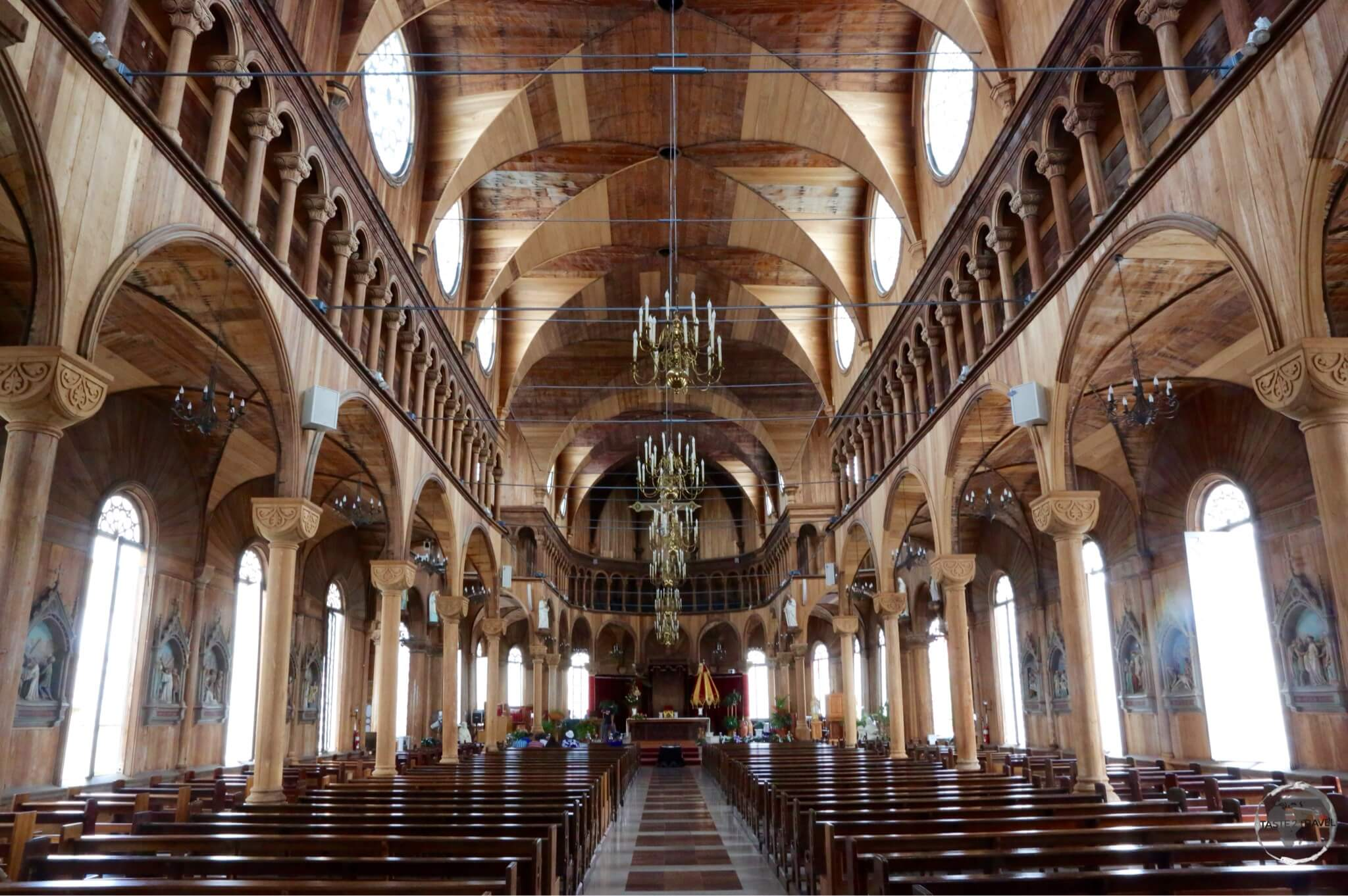 The wooden interior of St. Peter and St. Paul Basilica in Paramaribo