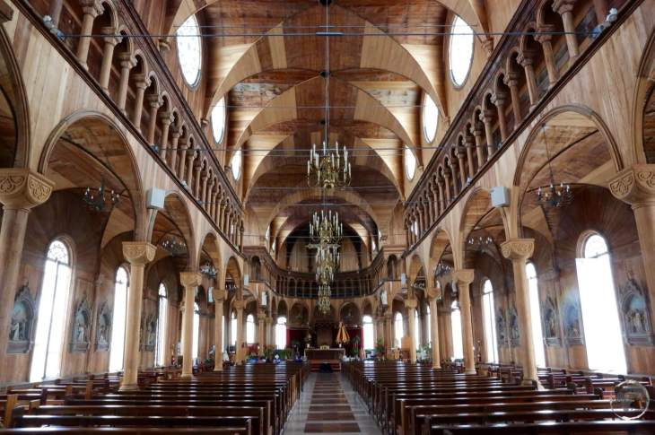The wooden interior of St. Peter and St. Paul Basilica in Paramaribo.