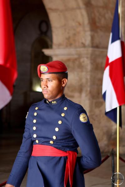 A guard at the National Pantheon in Santo Domingo.