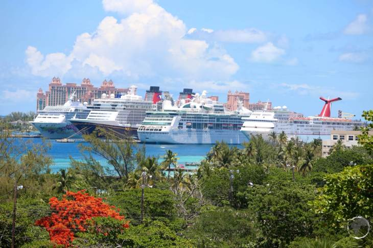 Cruise ships in Nassau harbour.