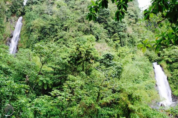 The hot (left) and cold (right) falls at Trafalgar falls, Dominica.