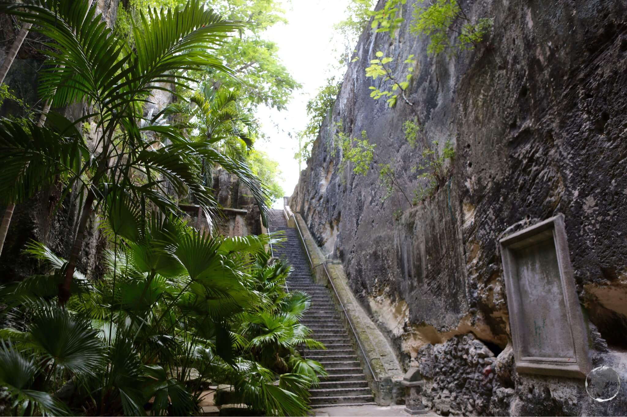 Carved out of the cliif, the rock-solid 'Queens Staircase'.
