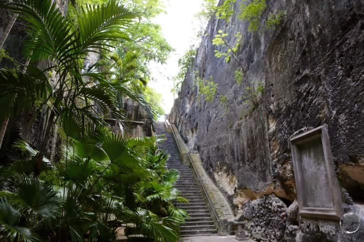 Hand-carved by convicts from the cliff-face, the rock-solid 'Queens Staircase'.