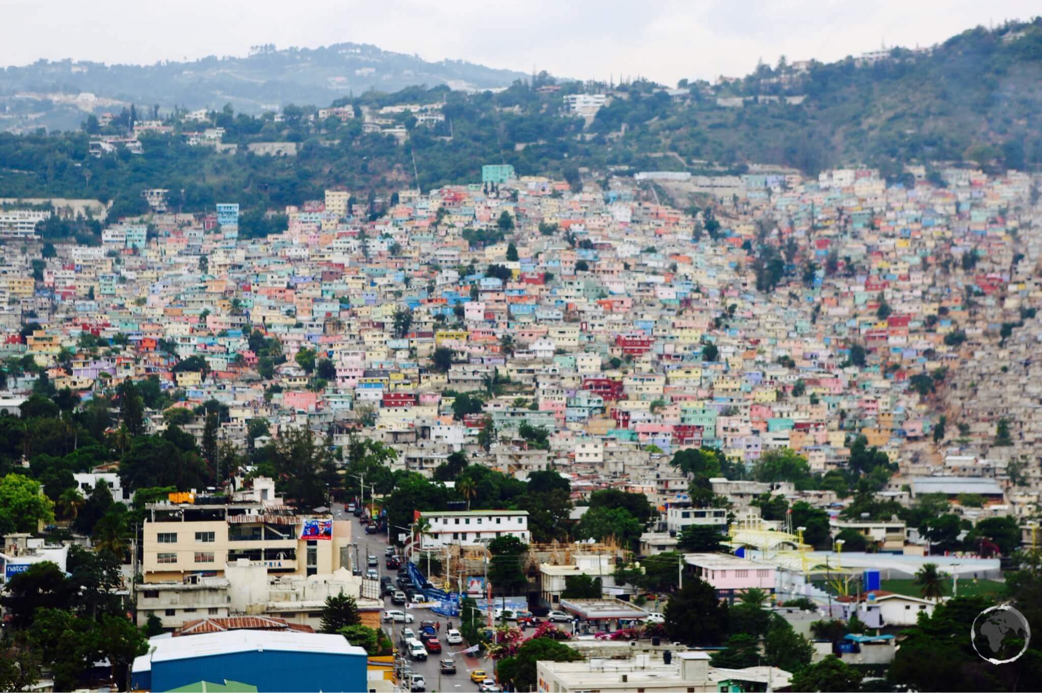 View of slum housing from Pétion-ville, Port-au-Prince.