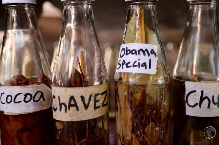 A speciality on Dominica is homemade spiced rums. Some come with quirky names.