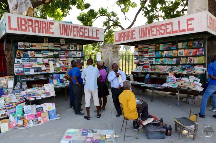 An outdoor book stall in downtown Port-au-Prince.