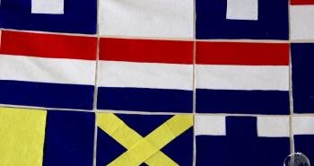 English naval flags at Nelson's Dockyard, Antigua.