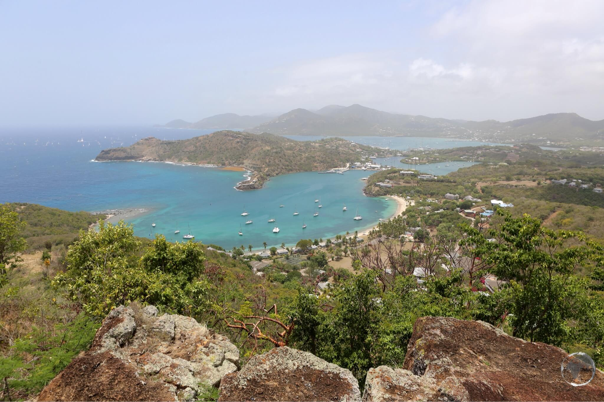 View of the south coast of Antigua towards English harbour from Shirley Heights.