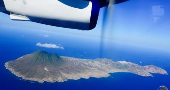 A panoramic view of Statia from a Winair flight.
