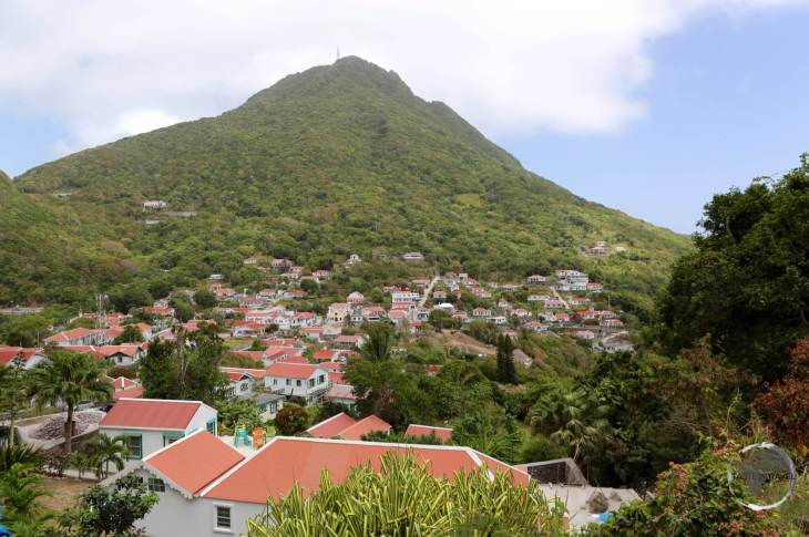 The main settlement on Saba, Windwardside, with Mount Scenery in the background.