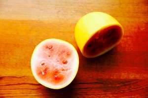 Bisected yellow-skin watermelon