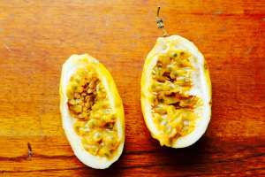 Bisected Yellow passionfruit