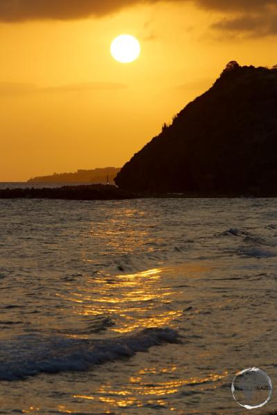 A golden sunset, South Friars beach on St. Kitts.