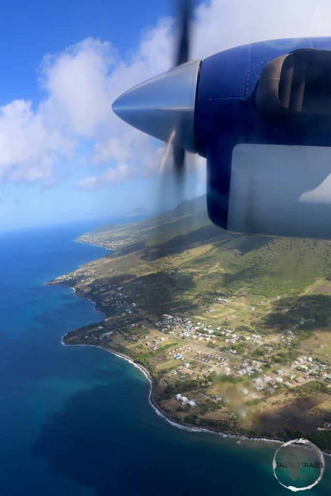 View of the north coast of St. Kitts from a Winair flight.