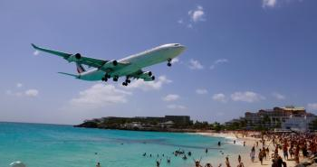Saint Martin/ Sint Maarten Travel Guide: Air France flight over Maho Beach