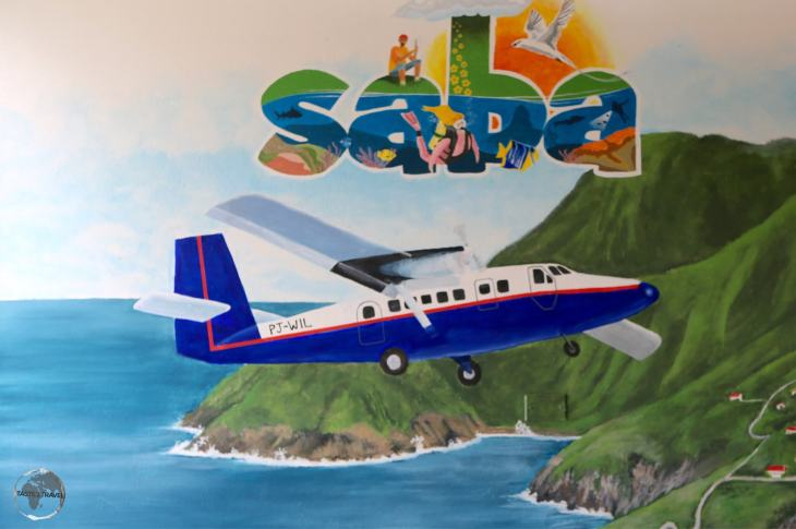 Artwork at Saba airport, which is ranked as one of the world's most dangerous airports.