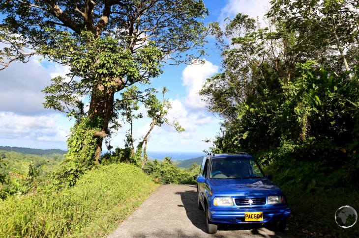 My rental car on Grenada, where a 4WD is recommended to handle the rough roads on Grenada.