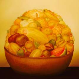 'Cesta con Frutas' (Basket with Fruits) by Fernando Botero (1973), on display at the Museo de Antioquia in Medellin, Colombia.