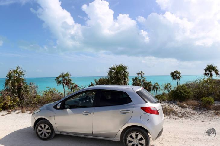 My rental car on the south coast of Provo island.