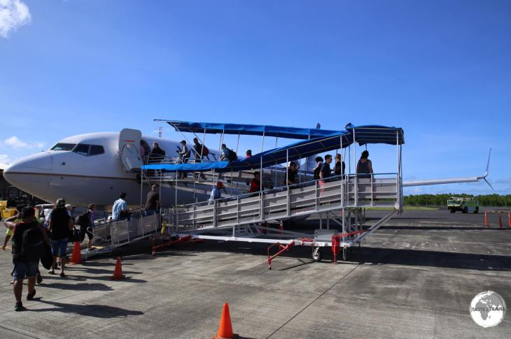 Boarding United Airlines' Island Hopper (UA154) at Pohnpei airport.