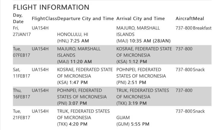 Itinerary - Honolulu to Guam on UA154.