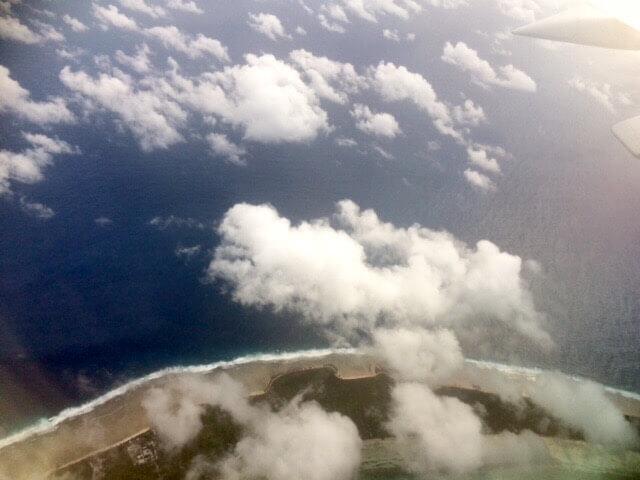View of Majuro from my Nauru Airlines flight to Kiribati.