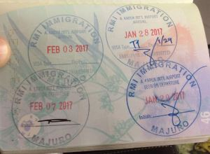 Marshall Islands passport stamps.