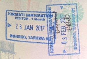 Kiribati passport stamps.