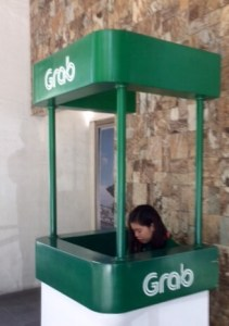 Grab Taxi counter in Manila.