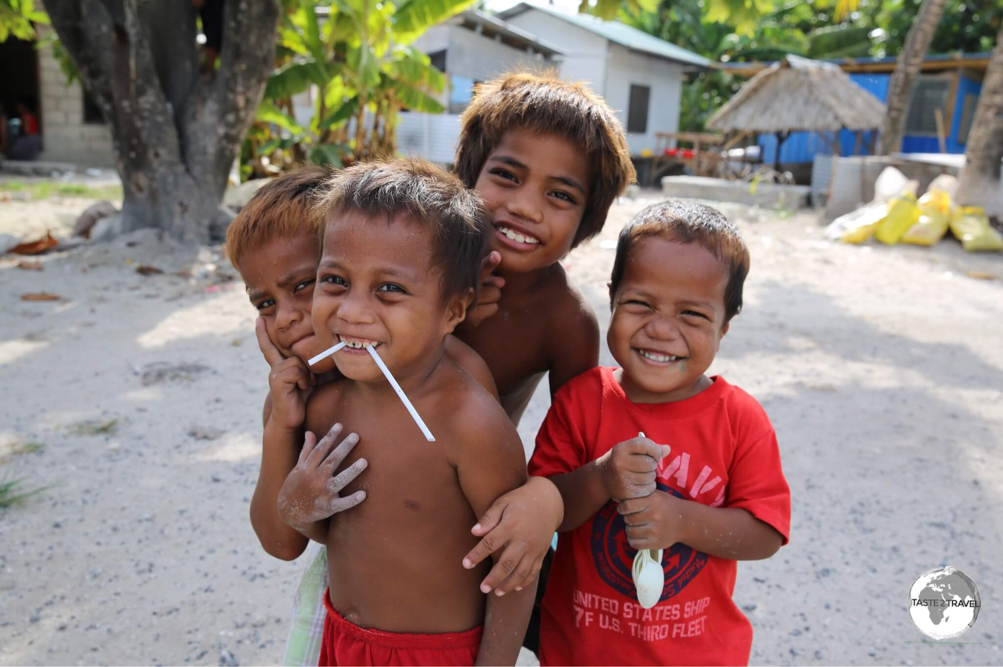 Friendly local boys playing on Betio island.