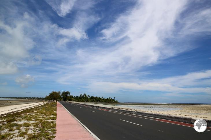 Just enough room for a two lane road on South Tarawa.