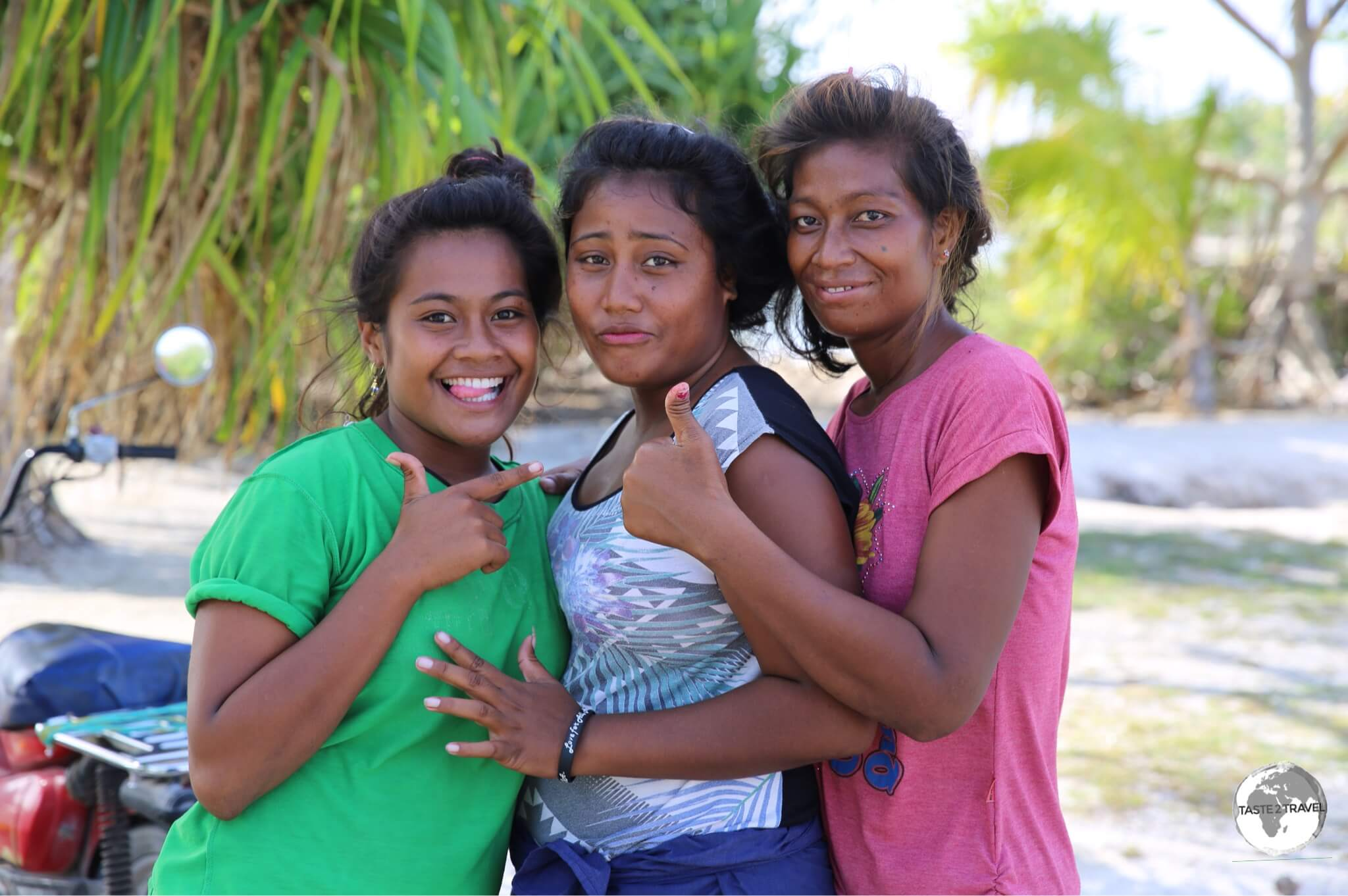 Friendly local girls on Maiana island.