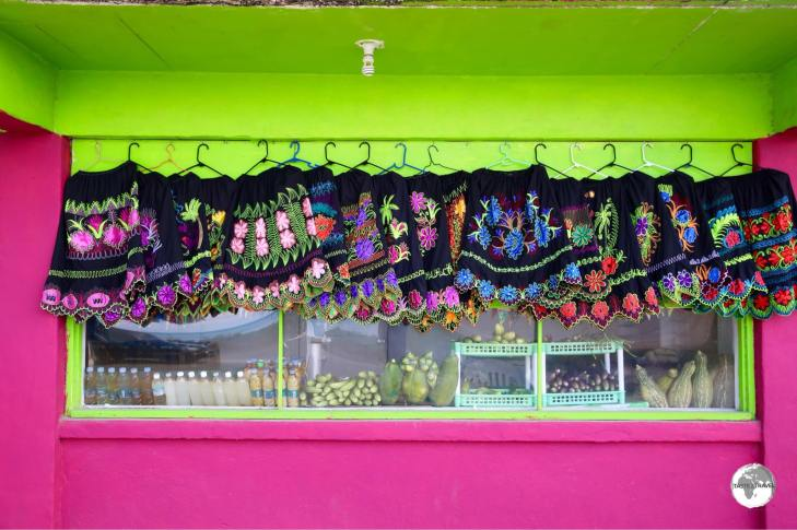 A shop in Weno town selling traditional Chuukese dresses.