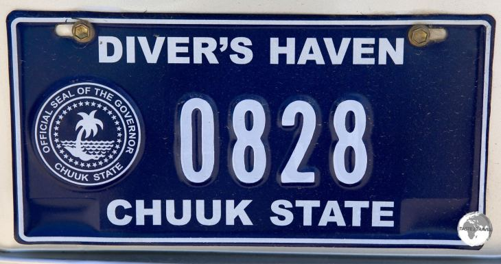 Chuuk license plate. The island is home to the best Wreck scuba diving in the world.