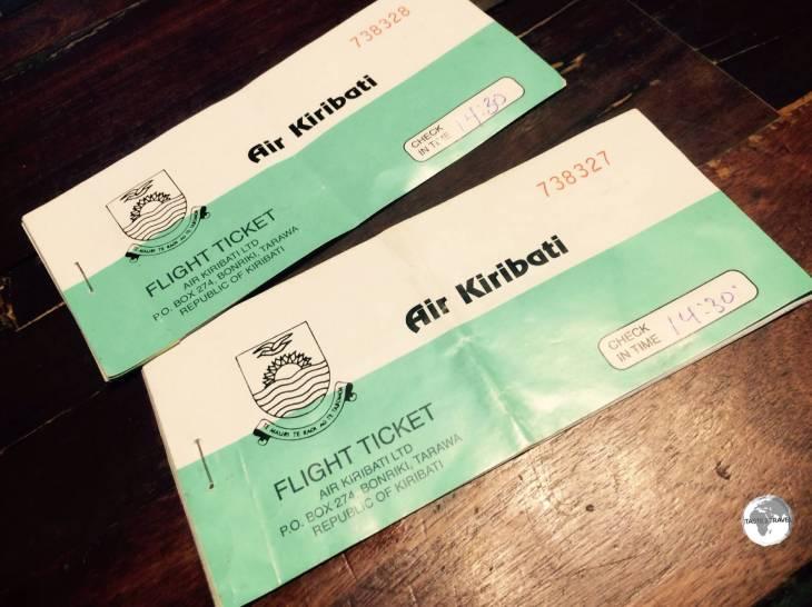 My Air Kiribati flight tickets to Maiana Island - AUD$28 each way.
