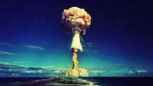 Atomic bomb test at Bikini atoll.