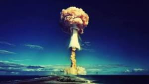 Atomic bomb test at Bikini atoll.