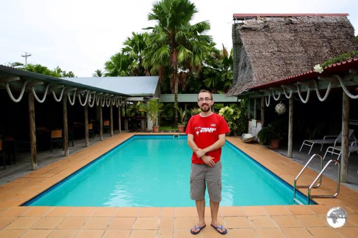 Joshua by the pool at 'his' property - Kosrae Nautilus Resort.