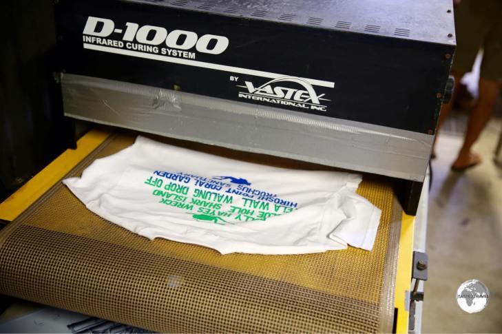 Designing shirts at the Green Banana Paper Company.