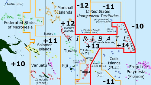 The International Date Line is shown in red.