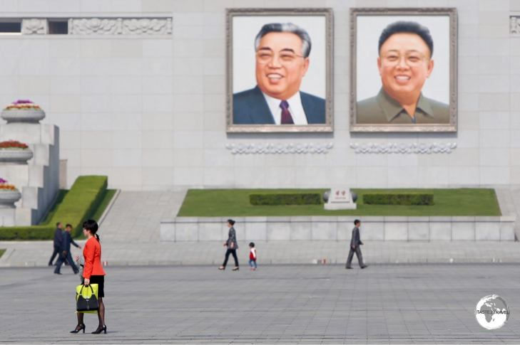 Portraits of the two former leaders, Kim Il-Sung and Kim Jong-Il are displayed everywhere in DPRK, including the main square.
