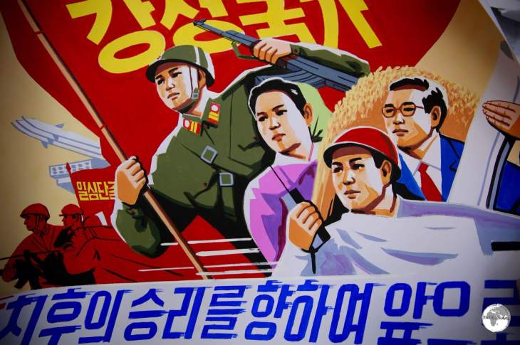 Propaganda posters are a common sight throughout North Korea.