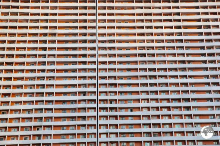 The streets of Pyongyang are lined with huge, anonymous and monotonous apartment buildings.