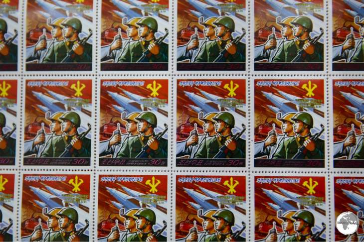 North Korean stamps feature striking propaganda artwork and make for interesting souvenirs.