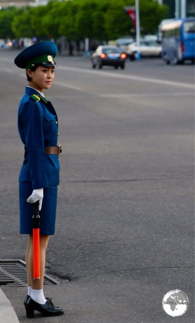 The traffic police officers in Pyongyang are always beautiful young girls.