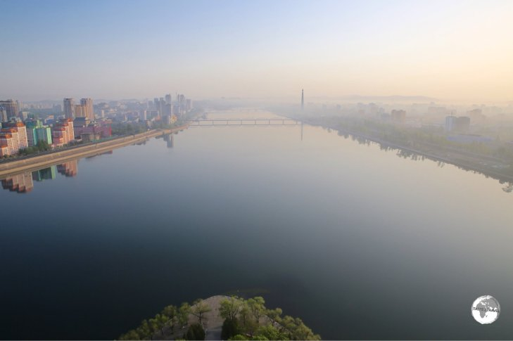 An early morning, from my room at the Yanggakdo International Hotel, of the Taedong River, which passes through downtown Pyongyang.