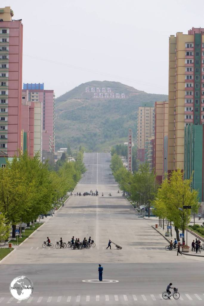 Main street of Kaeson, North Korea.
