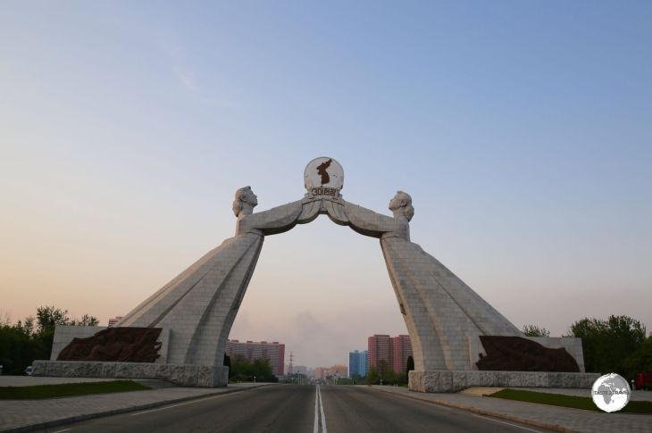 Located on the outskirts of Pyongyang, the Reunification Arch spans the Reunification highway which connects the capital with the DMZ.